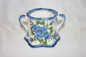 Cash Family Blue Ridge Pottery Hand Painted Sugar Bowl Blue Floral No Lid