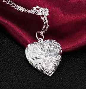 women-Silver-Heart-lover-locket-chain-necklace-pendant-valentine-Gift-one-HS7