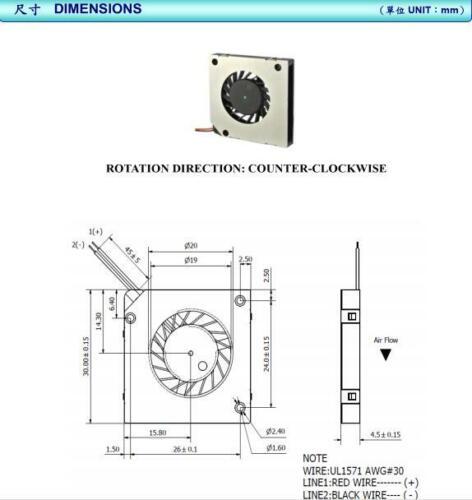 2pcs Micro Slim blower fan DC5V IP58 8500RPM  30*30*4mm Pos machine cooling fan