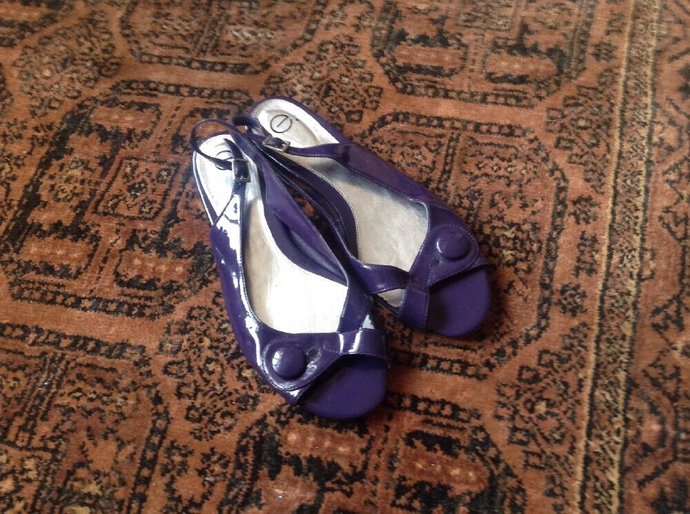 Evans Purple Patent Flat Slingback Sandals Sz 10 44 Wide Womens