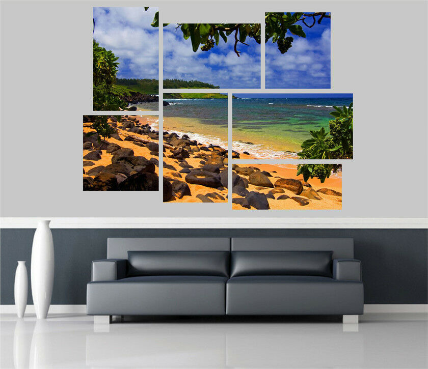Beautiful Exotic Beach Hawaii Removable Self Adhesive Wall Picture EX 1272