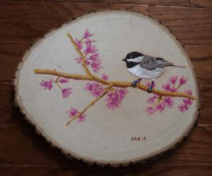 Chickadee-Bird-Wild-Life-Original-Acrylic-Painting-on-Wood-Signed-Art-Deco