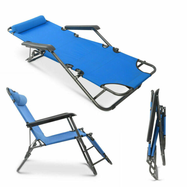 Folding Chaise Lounge Chair Portable Outdoor Garden Patio Pool Side Seat For Sale Online Ebay