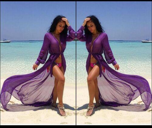 Donna Piscina Spiaggia Festa Abbigliamento Avvolgere Split Lungo Abito Chimono