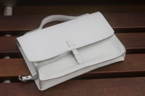 """Bicycle Frame Satchel Bag Handcrafted Natural Leather WHITE 11.8/""""x8.1/""""x2.2/"""""""
