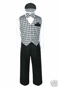 Silver Vest Bow Tie S-4T New Baby Boy Formal Wedding Party Black Suit Tuxedo