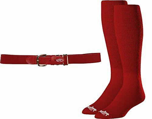 Rawlings Youth Belt and Sock Combo Red Navy and Royal Blue Colors Small//Medium