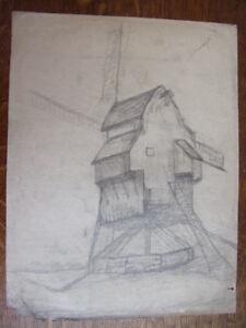 2 Dessins Au Crayon. Moulins à Vent Circa 1940 RéSistance Au Froissement