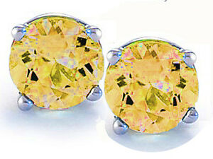 Round-Cut-Citrine-14k-White-Gold-Sterling-Silver-Stud-Earrings-New