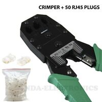 Crimp Crimper With 50 Rj45 Cat5 Cat5e Utp Connector Plug Network Tool Kit