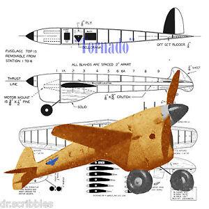 Details about VINTAGE 1946 CONTROL LINE MODEL AIRPLANE PLANS TORNADO SPEED  PLANE