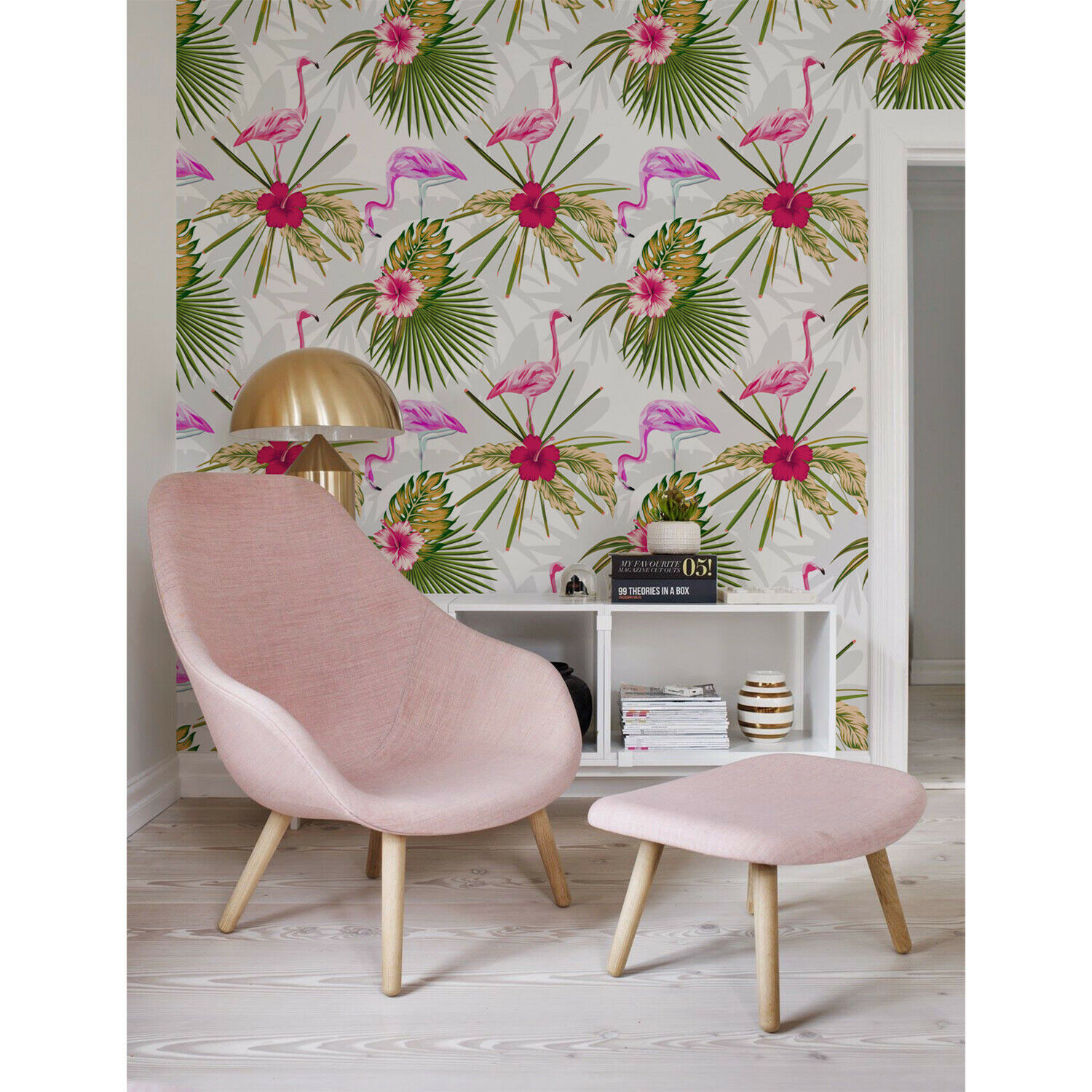 Non-Woven wallpaper Home Flamingo Miami Exotic Leaves Flowers and Birds Pattern