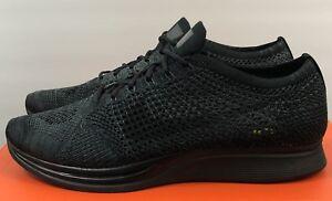promo code e9720 dd685 Image is loading Nike-Flyknit-Racer-Blackout-Triple-Black-Midnight-526628-