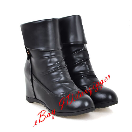 SIZE 4-11 Women/'s Wedge Hidden Ankle Boots Retro Knight Short Boots Comfy Shoes
