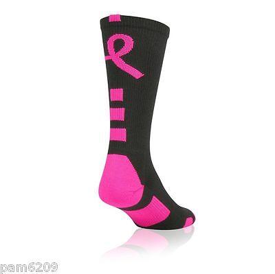 *** 1 Pair Ladie/'s Preformance Elite Breast Cancer Awareness Blk Socks 9-11 ***