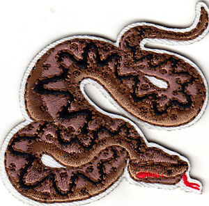 RATTLESNAKE DIAMONDBACK SNAKE Iron On Embroidered Patch Snakes