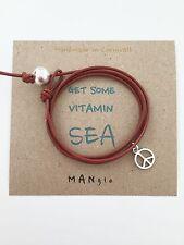 Tan Leather Mens Ladies Surfer Peace Wrap Cuff Bracelet Anklet + Surf Card