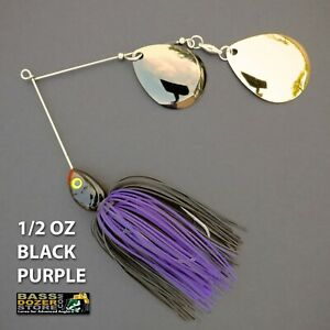 Bassdozer-spinnerbaits-DEEP-CUP-1-2-oz-BLACK-PURPLE-spinner-bait-baits