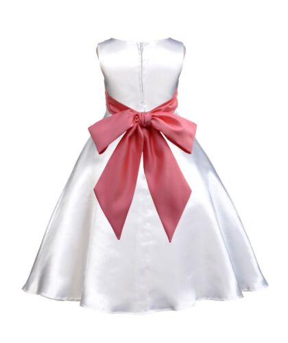 WHITE JR BRIDESMAID INFANT TODDLER PAGEANT RECITAL PARTY GOWN FLOWER GIRL DRESS