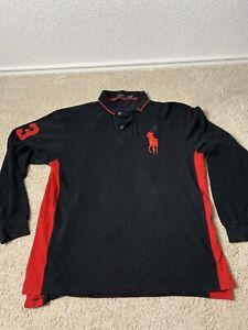 Details about Polo Ralph Lauren #3 Big Horse Logo Long Sleeve Black & Red Polo Shirt XLT Tall