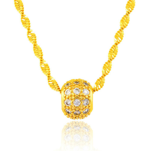 24K Yellow Gold Plated Crystal Transfer Bead Pendant Unisex Chain Necklace P171