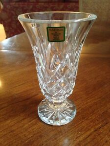 Waterford Irish Crystal Marquis Leana Style 6 Inch Cut Glass Footed Vase Ebay