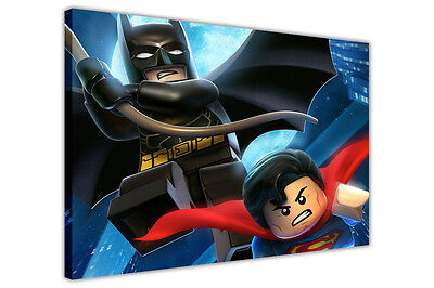 DC COMICS LEGO BATMAN AND SUPERMAN POP ART CANVAS WALL ART PRINTS PICTURES