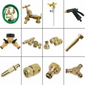 Outdoor Garden Tap Kit Brass Hose Connector Adaptor Fittings Spray Gun Nozzle