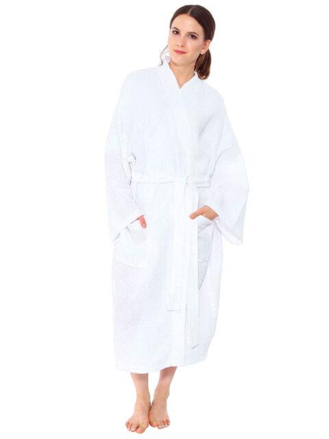 bf47bdf863 Womens Long Waffle Bathrobe Snuggle Lightwear Dressing Gown Spa Bath Robe