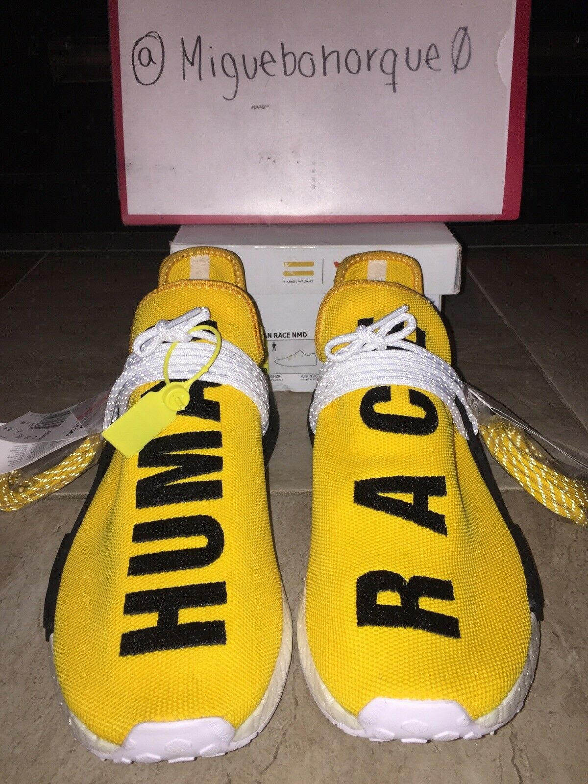 newest 8d468 08c8d adidas NMD Human Race Pharrell Williams Black Yellow PW HU Species Nomad  Bb3068 8