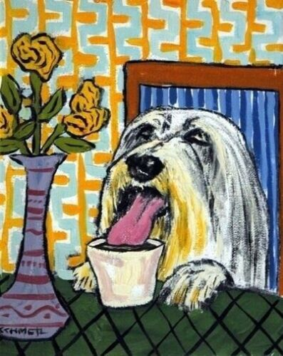 BEARDED COLLIE AT THE COFFEE SHOP  art print 8.5x11 animals impressionism
