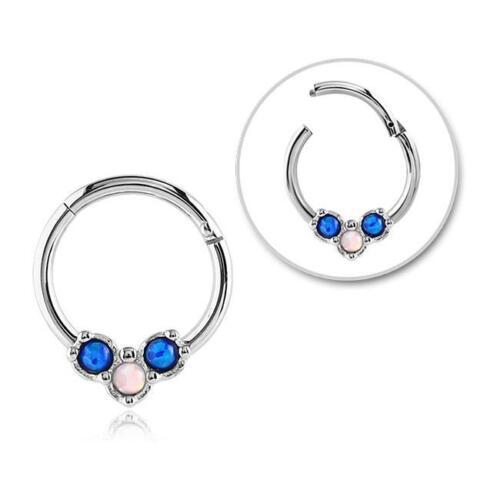 "Hinged Septum Clicker Hoop Nose Ring Ear Cartilage Blue Opal 3//8/"" 16G 16 Gauge"