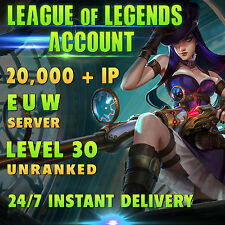 League of Legends Account LOL   EUW   Level 30   20.000+ IP   20k+   Unranked