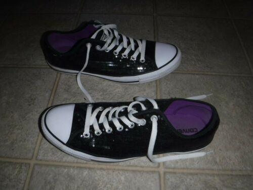 CONVERSE ALL STAR BLACK SPARKLY SEQUIN SNEAKERS ME