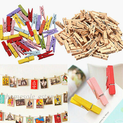 100X Natural Multicolor Wooden Clothe Photo Paper Peg Pin Clothespin Craft Clip