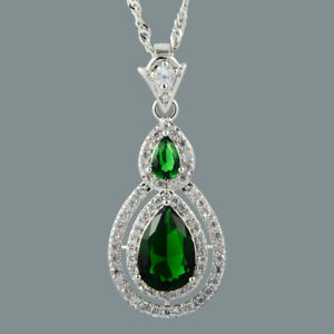 18K-White-Gold-Plated-Green-Emerald-Gem-Stone-Slide-Pendant-Necklace-Curb-Chain