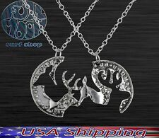 New Buck and His Doe Coin shaped Deer Elk Split Couple Necklace