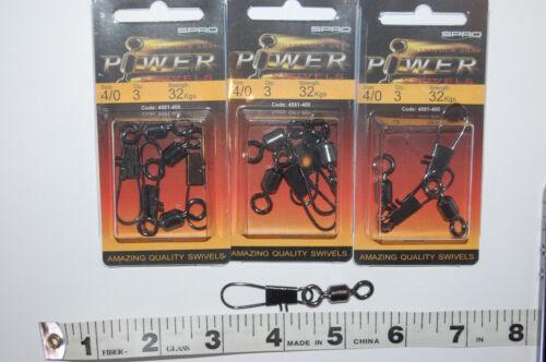 4581-400 3 packs quality spro power swivels interlock snap size 4//0 32kgs 70lb
