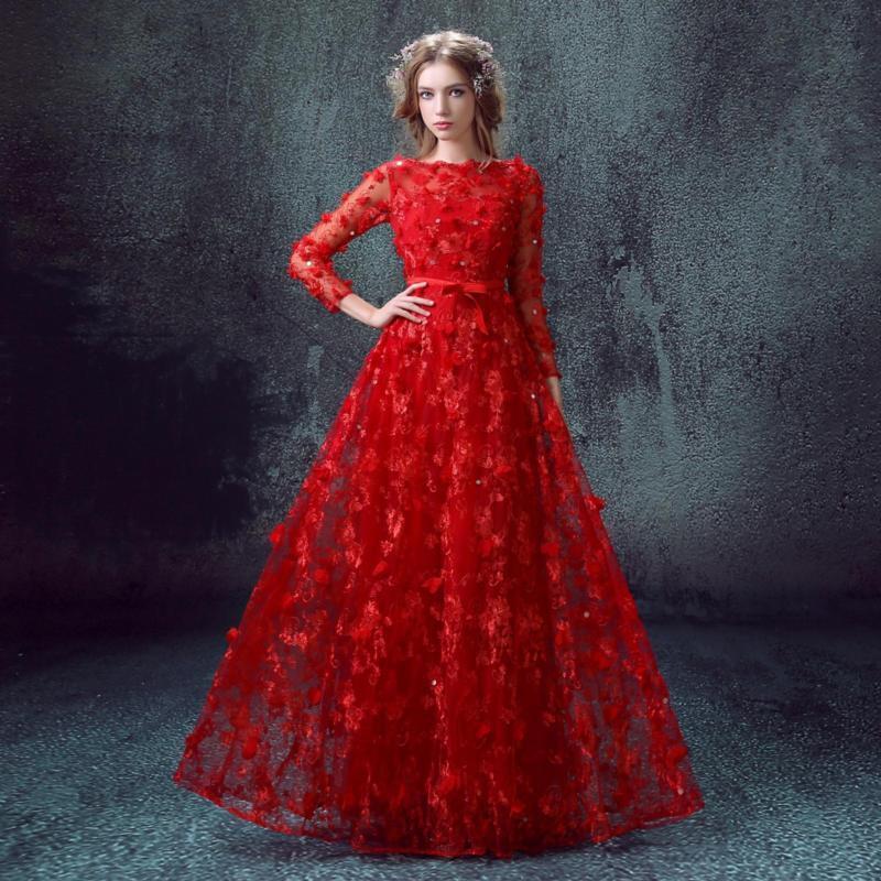Elegant Womens Red Wedding Dress Lace Flowers Long Sleeve Evening Ball Sequins