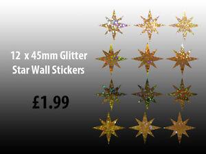 NEW-12-x-Glitter-Star-Wall-Art-Stickers-Decals-12-x-45mm-Gold-Glitter-Stars