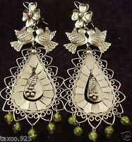 TAXCO MEXICAN STERLING SILVER FRIDA KAHLO DESIGN PERIDOT FLOWER EARRINGS MEXICO