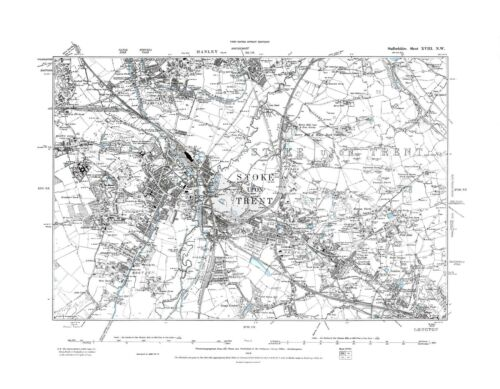Old Map of Stoke upon Trent Staffordshire in 1889 Repro 18 N W