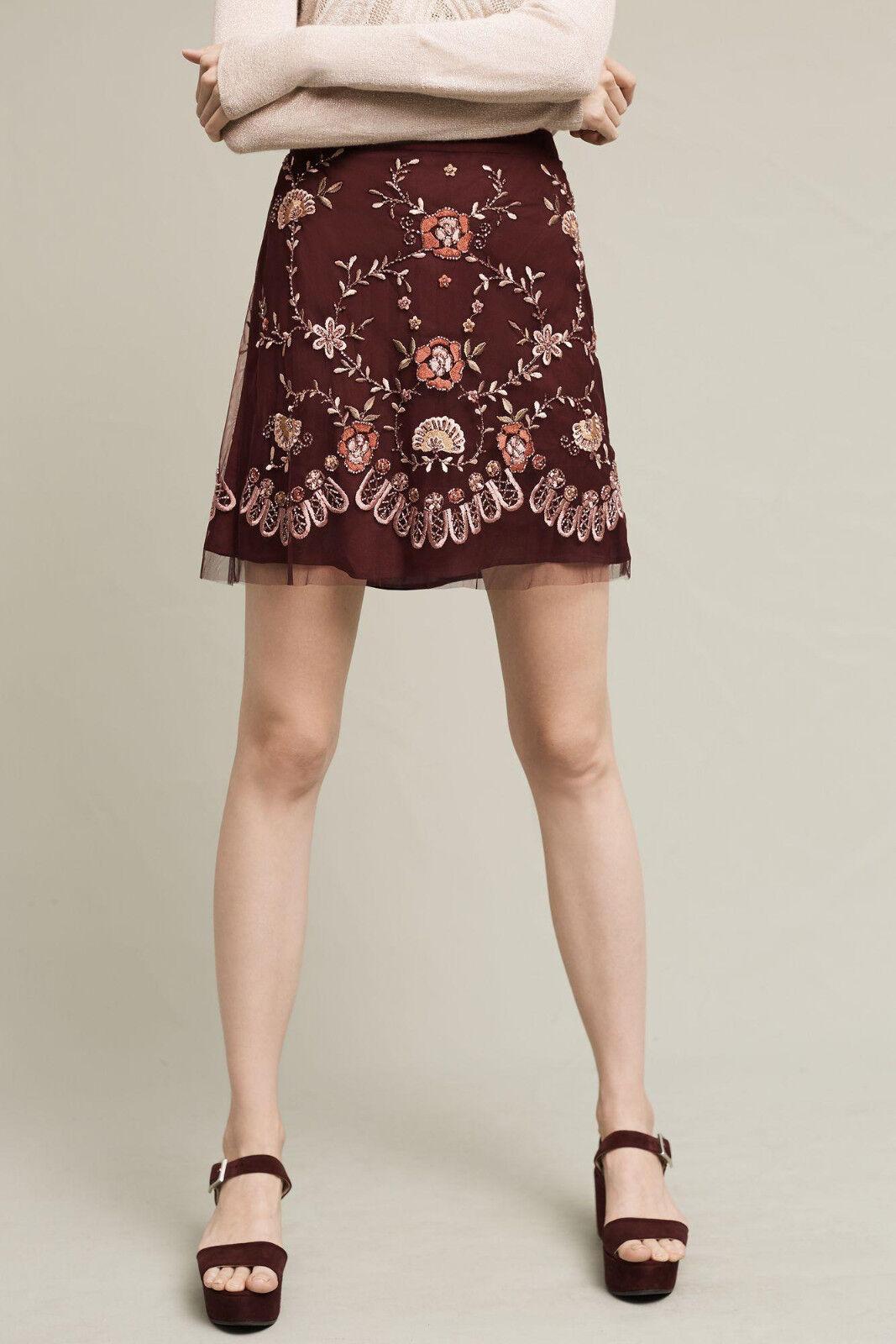 NWT - ANTHROPOLOGIE - RANNA GILL - Regal Embroidered Mini Skirt XS (Plum)  198