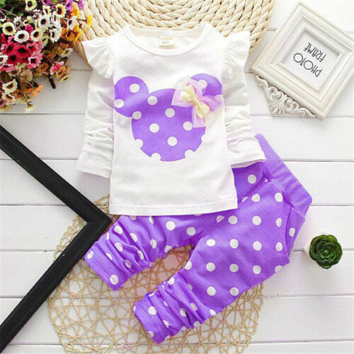 Pants Comfy UK Kids Baby Girls Boys Cartoon Printed Tracksuit Outfits Set Tops