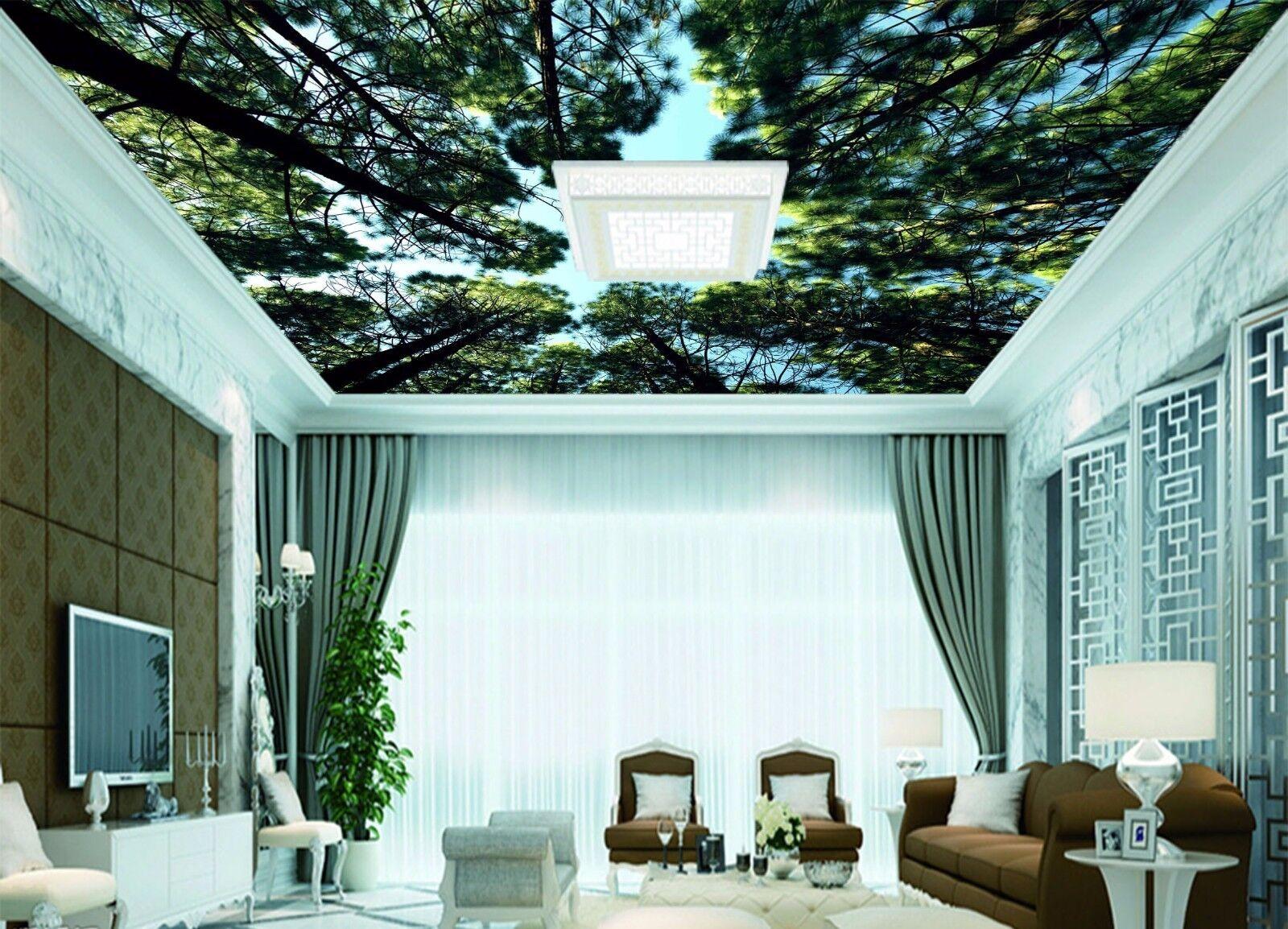 3D 3D 3D Dark Grün Woods Sky 522 Ceiling Wall Paper Print Wall Indoor Wall Murals CA 4d1e84