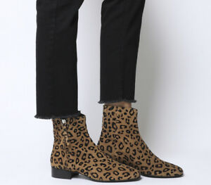 Suede Casual Flocked Womens Side Adore Boots Zip Leopard Office 76S8wqF