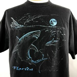 Vtg-Florida-Sharks-Ocean-Shirt-Sz-XL-Black-Blue-Embellished-Short-Sleeve-Tee