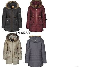 New Womens Ladies Trinity Zipped Fur Hood Quilted Parka Puffa Padded