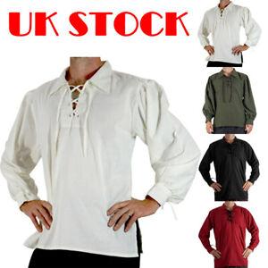 Camisa-de-pirata-Caballero-Medieval-Renacimiento-con-cordones-para-hombre-Disfraz-Elaborado-Vestido