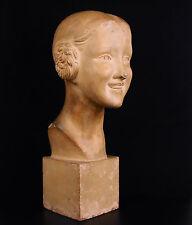 Raphaël Charles PEYRE sculpture art-déco girl 1930 jeune-fille souriante H:38cm